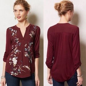 Anthropologie | Tiny Embroidered Chinoiserie Top